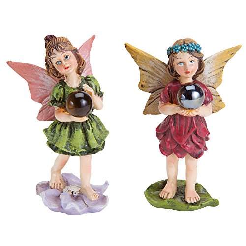 Bits and Pieces - Set of Two Adorable Hand Painted Wishball Fairies - Made of Durable Polyresin to Make Perfect Garden Statues