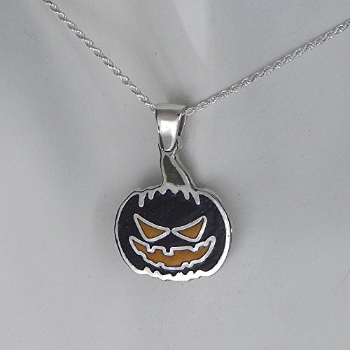 [Halloween Jack O Lantern Necklace, Sterling silver and vitreous enamel.] (Father Daughter Halloween Costumes)
