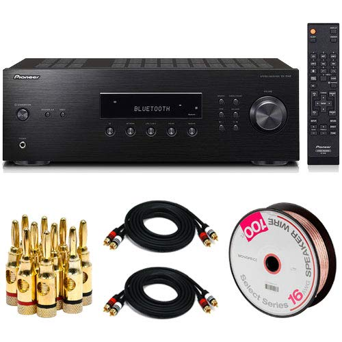 (PIONEER Bluetooth Audio Component Receiver Black(SX10AE) w/100ft Speaker Wire Kit )