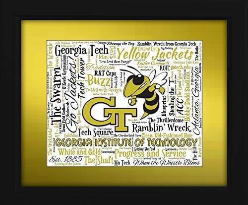 - Georgia Institute of Technology (Georgia Tech) 16x20 Art Piece - Beautifully matted and framed behind glass