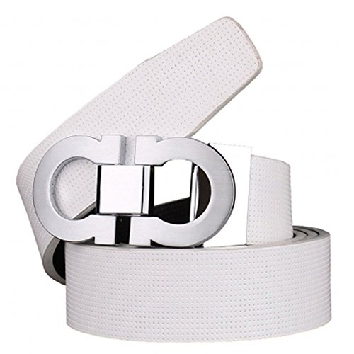 Men's Smooth Leather Buckle Belt 35mm Leather up to 42inch 110-115cm White-Silver