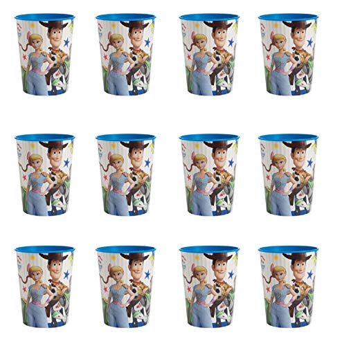 Toy Story Cup (Unique Industries Disney Toy Story 4 Movie Plastic Favor Cups Party Favor - 16oz - 12)