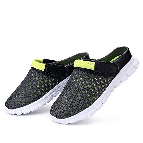 Bwiv Leicht Sommer Clogs Unisex Hausschuhe Sandalen 2 Way Umweltfreundlich EVA Sohle Mit Schuhe Tasche Grau und grün 38 0QYT38