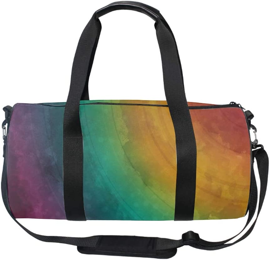 Watercolor Rainbow Gym Duffle Bag Drum tote Fitness Shoulder Handbag Messenger Bags