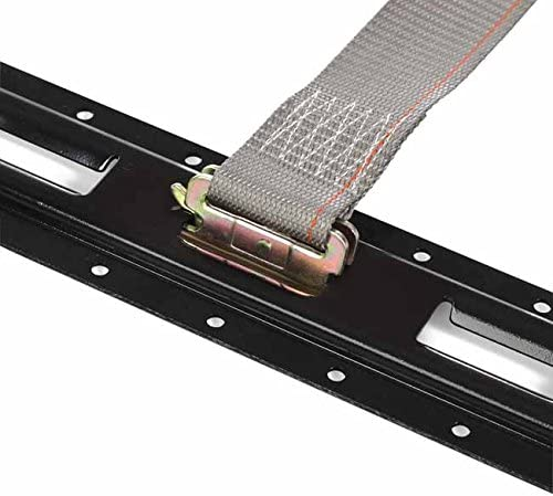 4 E Track Ratchet Tie-Down Cargo Straps 2 x 16 Durable Ratcheting Strap Cargo TieDowns Heavy Duty Grey Polyester Tie-Downs ETrack Spring Fittings