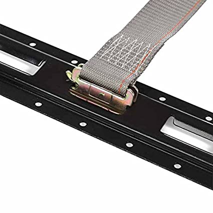 Heavy Duty Grey Polyester Tie-Downs 4 E Track Ratchet Tie-Down Cargo Straps 2 x 16 Durable Ratcheting Strap Cargo TieDowns ETrack Spring Fittings