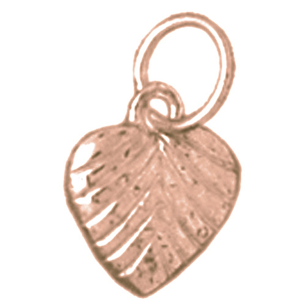 Jewels Obsession Solid 14K Rose Gold Heart Pendant 13 mm