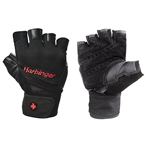 Harbinger Pro Wristwrap Weightlifting Gloves with Vented Cushioned Leather Palm (Pair), Small ()