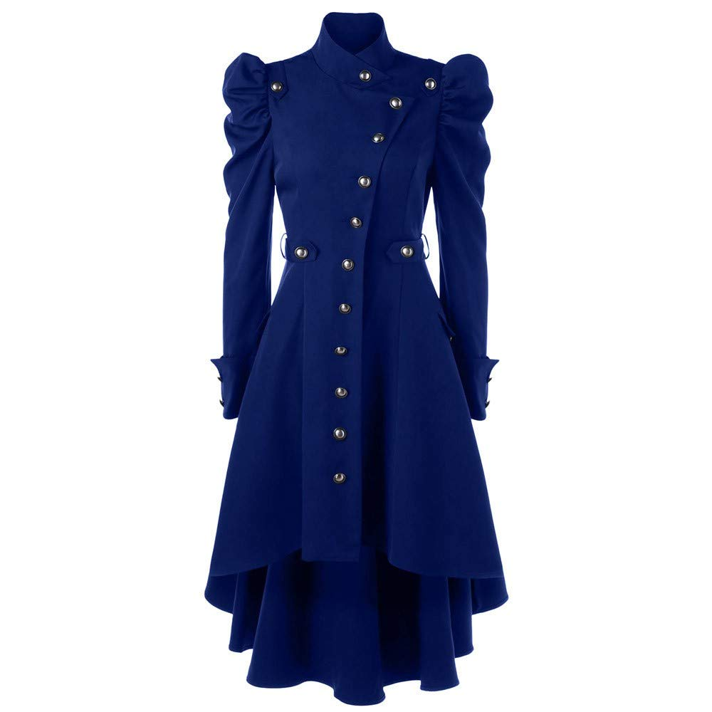 Baiggooswt Womens Autumn Winter Warm Vintage Steampunk Gothic Button Solid Turtleneck Overcoat Retro Long Jacket Blue by Baiggooswt