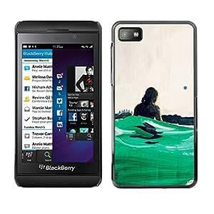 Be Good Phone Accessory // Dura Cáscara cubierta Protectora Caso Carcasa Funda de Protección para Blackberry Z10 // Green Surf Waves Summer Hawaii