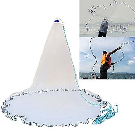 LaDicha 3M 4.2 M 5.4 M 6.6 M Hand Cast Fishing Net Spin Network Kö derfisch Net Sinker - 3M