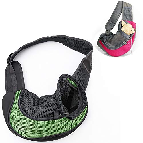 Green VAXT Sizing:Low, Dog and Cat Sling Carrier Hands Release Reversible Pet Papoose Bag (color   Green)