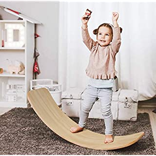 AOLIGE Wooden Balance Board for Kids Multifunction Natural Wood Rocker Curvy Yoga Board Children Toddlers Toys 33.5 Inch