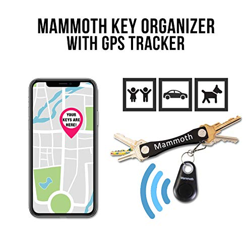 Key Organizer Keychain with Bonus Mini GPS Tracker | Smart Compact Key Chain Holder Made from Stainless Steel | Holds Up to 18 Keys and Accessories | Great Gift for Women, Men, Groomsmen (Black)