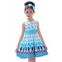 FEITONG(TM) Kids Girls Bow Belt Bubble Peacock Party Dress Clothing