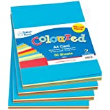 Baker Ross A4 Card Value Pack Kid's Art & Craft Activities Collage - 5 Assorted Colours(220gsm) (Pack of 50)