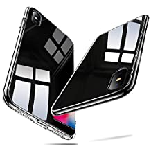 Funda iPhone X, YOMYM 9H Vidrio templado Contraportada [Imita la parte posterior del cristal del iPhone X] [Resistente a los arañazos] + Paragolpes suave de silicona [Amortiguación] para Apple iPhone X (Negro)