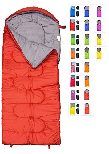 REVALCAMP Sleeping Bag for Cold Weather - 4 Season Envelope Shape Bags by Great for Kids, Teens & Adults. Warm and Lightweight - Perfect for Hiking, Backpacking & Camping (Red - Envelope Left Zip) ()