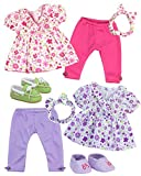 Sophia's Baby 15'' Doll Twin Set with Two Complete Outfits of Floral Print Blouse, Leggings, Headband and Shoes for Two