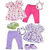 """Sophia's Baby 15"""" Doll Twin Set with Two Complete Outfits of Floral Print Blouse, Leggings, Headband and Shoes for Two"""