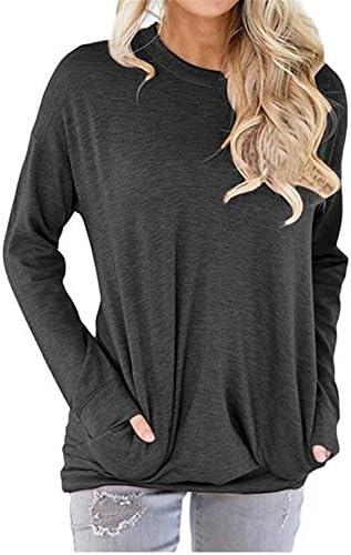 UniDear - Sudadera con cuello redondo de manga larga casual para mujer, Blusa sueltas con bolsillo