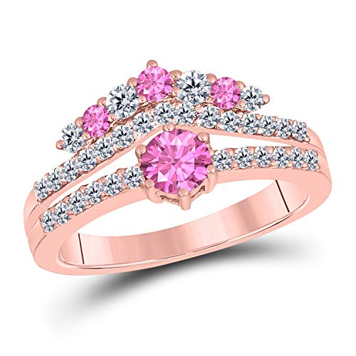 (DreamJewels 1.50 Ct Round Cut Created Pink Sapphire 14K Rose Gold Finish Sterling Silver Multistone Crown Style Engagement Ring for Women's)