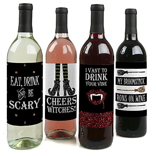 Spooktacular - Eat, Drink and Be Scary Halloween Party Decorations for Women and Men - Wine Bottle Label Stickers - Set of -