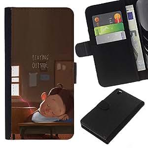EJOY---La carpeta del tirón la caja de cuero de alta calidad de la PU Caso protector / HTC DESIRE 816 / --Arte Jugar School Boy Sueño de dibujos animados
