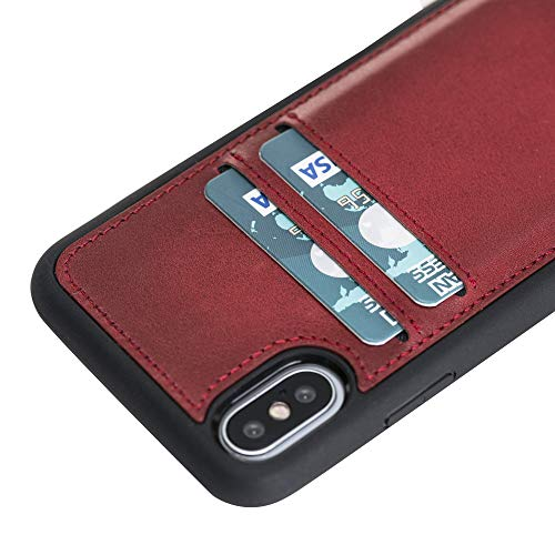 Venito Cosa iPhone X/XS Leather Case, Snap-On Back Cover with Credit Card Slots for iPhone X/XS | Slim and Lightweight | Handcrafted from Premium Full Grain Leather (Red)