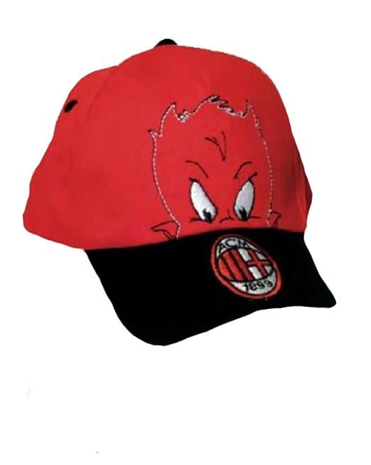 604b70777ba Cappellino baseball taglia 2 4 anni rosso nero ufficiale A.C.Milan  19466   Amazon.it  Abbigliamento
