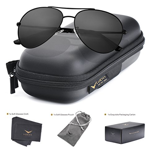 0d0ffb71f75 LUENX Aviator Sunglasses Men Women Polarized UV400 Metal Frame 60MM ...