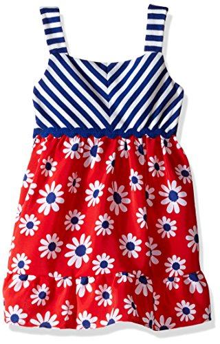 Youngland Little Girls' Striped to Floral Koshibo Sundress, Red/White/Blue, 4