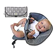 SnoofyBee Portable Clean Hands Changing Pad. 3-in-1 Diaper Clutch, Changing Station, and Diaper-Time Playmat With Redirection Barrier for Use With Infants, Babies and Toddlers. (grey arrow)