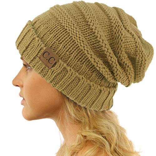 (Winter Trendy Warm Oversized Chunky Baggy Stretchy Slouchy Skully Beanie Hat Camel)