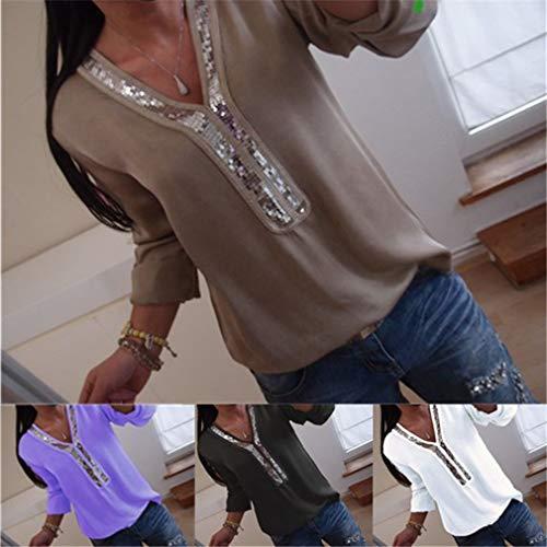 Primavera Sexy Camicia Tops Donne Casual Tunica V Viola Autunno Blouse Camicetta Collare per di Taglie per Solido Lunga Paillettes Forti Colore Manica e Moda aZRraxwqC