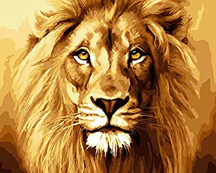 23c2c0bd08d0 DIY Oil Paint by Number Kit for Adults Beginner 16x20 inch - Golden Lion  King's Head, Drawing with Brushes Christmas Decor Decorations Gifts (Framed)