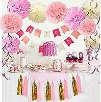 Yansion Unicornio Fiesta Decoración Unicornio cumpleaños Supplies,39 Piezas cumpleaños con 1 Banner,2 Enorme Unicornio Globos,30 Globos,6 Flores de ...