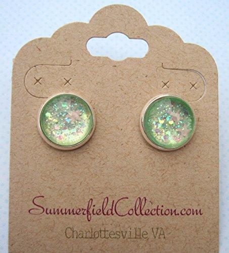 [Silver-Tone Seafoam Iridescent Glitter Glass Stud Earrings 1/2