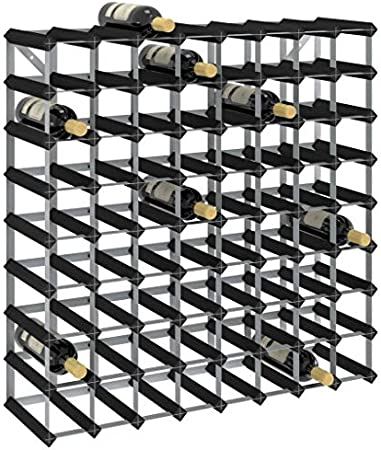vidaXL Madera Maciza de Pino Botellero Armario Soporte Vino Vinoteca Estante Organizador Portabidones Colocación Decoración para 72 Botellas Negro