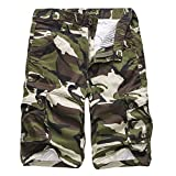 iZHH Men's Camouflage Outdoors Pocket Beach Work Trouser Cargo Shorts Pant(Army Green,36)