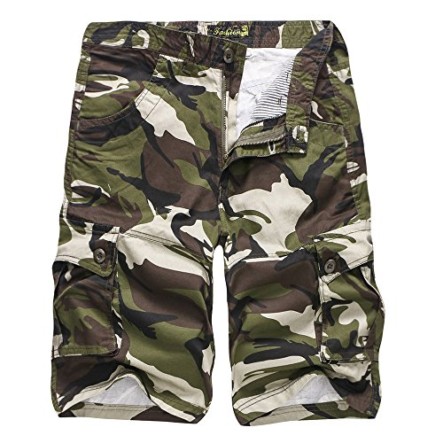 iZHH Men's Camouflage Outdoors Pocket Beach Work Trouser Cargo Shorts Pant(Army ()
