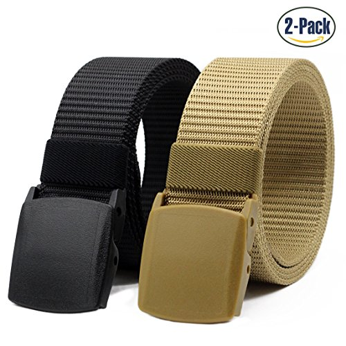 Nylon Canvas Belt Hiking Outdoor Adjustable Belts Unisex Military Style Casual Army Outdoor Tactical Plastic Buckles Webbing for Men and Women 2 pack By ANDY GRADE (Style (Canvas Kids Belt)