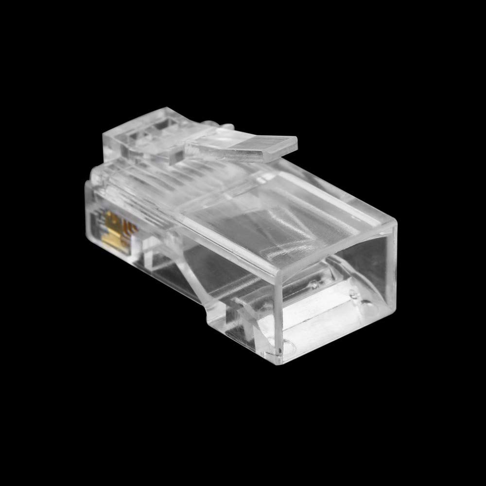 Computer Cables 100PCS Crystal Head RJ45 CAT5 CAT5E Modular Plug Gold Plated Network Connector CN, Cable Length: Other