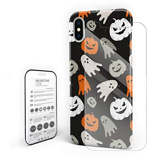 Cases Cover for iPhone X [Built-in Screen Protector] Slim Fit Hard Plastic Shell Full Protective Anti-Scratch Fingerprint Cover for Apple Phone 5.8 Inch - Happy Halloween Cute Ghost and Pumkin