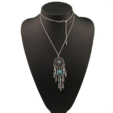 Amazon usstore women vintage necklace bohemian ethnic merry su usstore women vintage necklace bohemian ethnic merry su dreamcatcher pendants partty gift alloy silver aloadofball Choice Image