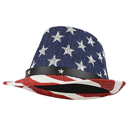 Armycrew American Flag Design Firm Lightweight Toyo Straw Fedora Hat - (Toyo Straw Fedora Hat)