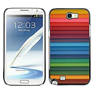 X-ray Impreso colorido protector duro espalda Funda piel de Shell para SAMSUNG Galaxy Note 2 II / N7100 - Rainbow Blue Red Stripes Pattern