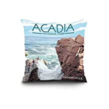 Acadia National Park, Maine - Thunder Hole Day (20x20 Spun Polyester Pillow, Square)