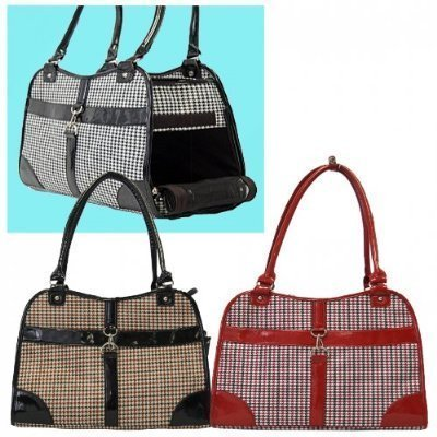 Houndstooth Print Tote Pet Dog Cat Carrier/Tote Purse Travel Airline Bag -Red-Medium by mpet