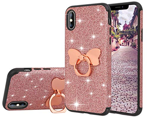 Casetego Compatible iPhone Xs Max Case,Glitter Sparkle Bling Shock Absorbing Flex TPU Rubber Case Cover with Ring Grip Holder Kickstand for Apple iPhone Xs Max 6.5,Rose Gold